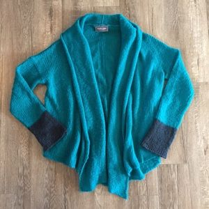 Wooden Ships Teal and Navy Open Cardigan